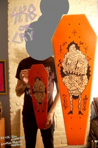 M Skattum - skate board with art 002