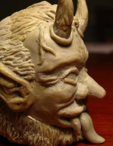 Krotpong - Krampus head sculpt.
