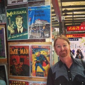 Glenno - standing next to bootleg Tin Tin print